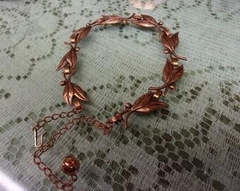 Vintage Copper Leaf Choker Necklace