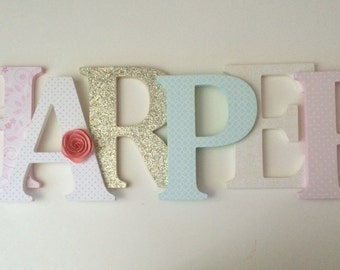 Wooden  letters for nursery in pink, gold and mint