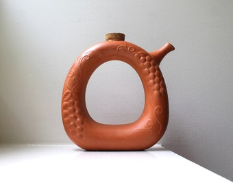 Vintage Modern Pitcher Decanter Carafe Donut Ring Terracotta Pottery Gourmet Topf