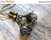 FLASH SALE Teeny Tiny Fairy House Brass Beaded Earrings // Fairy Jewelry // Czech Earrings // Brass Earrings // Bridesmaid Jewelry