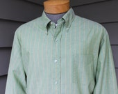 vintage early 1960's -Sport-King- 3 button collar, long sleeve shirt.  Green End-on-end - All cotton. Extra Large  XXL - 18 Long 37