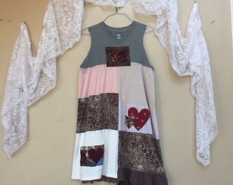 Art to Wear Tunic Dress, Tattered Shabby Boho Chic dress, fabric art Appliqué Patchwork Tank Dress , Romantic Artsy Summer Dress