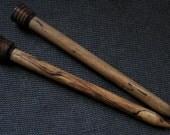 Big Knitting Needles - Hand turned, Size 35, Black & White Ebony