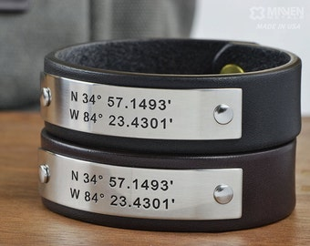 Personalized Couple or Friendship Leather Bracelets - Two (2) Personalized Leather Bracelets - Hand Crafted in USA