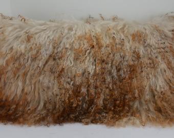 Mongolian tibetan Lamb fur Pillow Multi Tone new made in usa authentic tibet cushion insert included