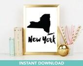 New York State Print | DIY Printable | Print at Home| Instant Download | Printable | State Wall Art |  Map Art | Travel Poster | Map Print