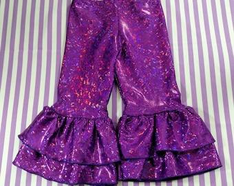 Rainbow sparkle pants, choose your color, girls ruffle pants, kids ruffle pants
