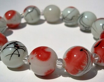 Fire Orange and White Glass Bead Bracelet