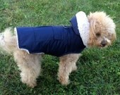 Dog Coat, Parka with detachable hood, with sherpa lining warm. Stylish