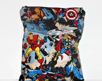 Superheroes Medium Wet Bag, Cloth Diaper Wet Bag, Reusable Waterproof Bag, Beach Bag, Pool Bag, Floral Wet Bag
