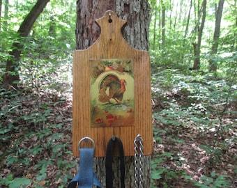 Thanksgiving Greetings Hanging Key Rack, 1914 Thanksgiving Post Card, Primitive Key Holder *READY to SHIP*