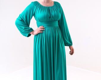 1970's Emerald Green Maxi Goddess Dress