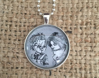 Chucky Childsplay inspired Hand Drawn necklace