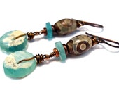 Ancient Roman glass and Tibetan Agate wire wrap dangle earrings - recycled rustic bohemian rustic jewelry - one of a kind - hypoallergenic