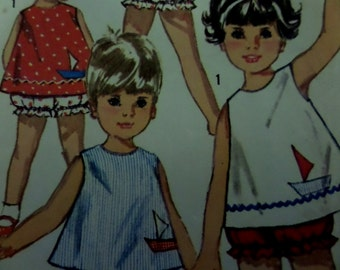 TOP & PANTIES Pattern • Simplicity 5519 • Toddler 1 • Sun Top and Shorts • Button Back Top • Playwear • Childrens Pattern •  WhiletheCatNaps
