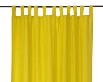 Tab top curtains. Custom color or mustard linen window curtain. Blackout curtains. Unlined linen drapes.