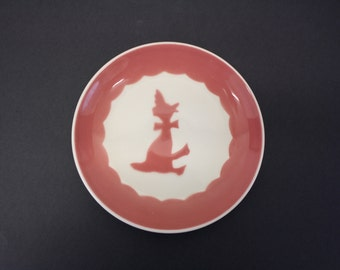 Vintage Child's Plate w/Pink Duck w/Bonnet & Bow (E2402)