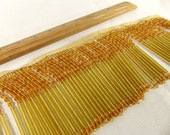 Vintage Fringe Beads Heavy Gold Amber GLASS Rare 1980s High Quality Trim