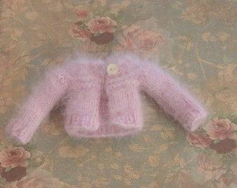 Ooak Blythe Doll French Pure Angora Yarn Hand Knit Sweater Cardigan Pale Lilac Orchid by Lily Rose