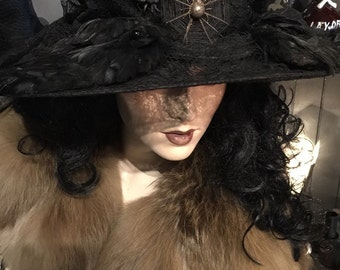 Reduced Antique Bird Wing Hat GOTHIC VICTORIAN EDWARDIAN Ornate Black Wide Brim Feathered Designer Hat at Gothic Rose Antiques