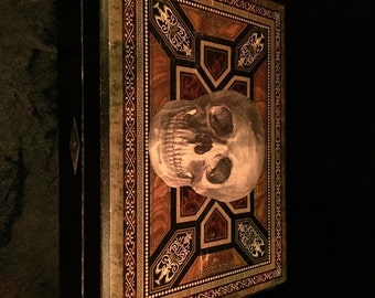 Antique Skull Altar Dresser Box with All Contents shown at Gothic Rose Antiques