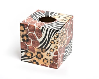 Animal Skin  Design Wooden Tissue Box Cover Perfect for Mothers Day
