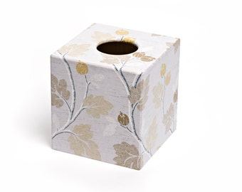 Silver and Gold Acorns Tissue Box Cover Wooden Handmade
