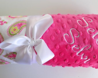 Monogrammed Minky Baby Blanket - Paisley, Hot Pink and Green, Personalized