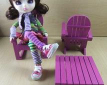 Adirondack Doll Furniture set for Blythe, Pullip, Ever After High, Monster High, Barbie