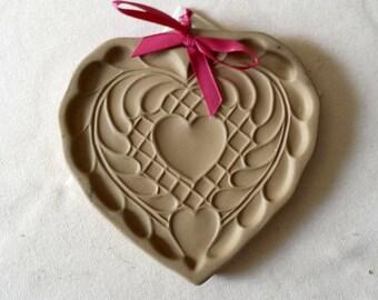 Vintage Brown Bag Cookie Mold - Folk Heart - 1988