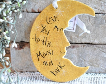 Love You to the Moon and Back Large Wall Hanging Salt Dough Ornament