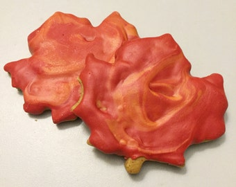 Maple Peanut Butter Leaf Cookies for Dogs - All Natural -  2 Treats - Fall Leaves - Autumn Seasonal Shape