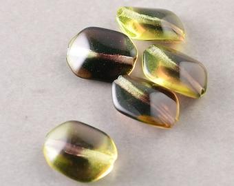 Green Brown Beads, Glass 12mm Oblong Beads, Five