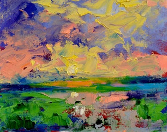 "Original Abstract Saltwater Landscape Oil Painting- ""Quiet Vista""- by Claire McElveen"