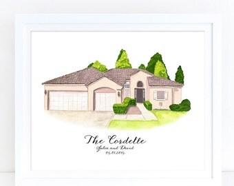 Custom House Portrait, Custom House Illustration, Home Drawing, House Portrait, Gift for Grandma, Gift for Mom, Gift for Dad