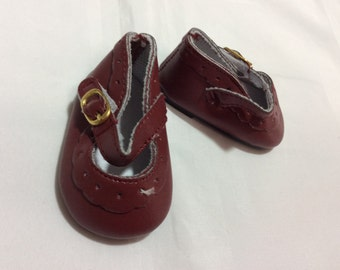 "Burgundy Mary Janes, doll shoes, fit 18"" like American Girl, doll clothes"