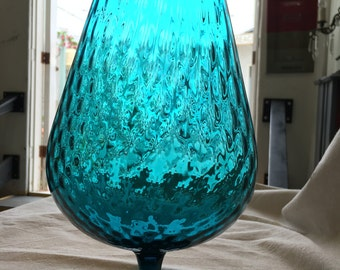"Mid-Century Teal Optic Glass 12"" Brandy Snifter"
