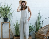 Summer SALE Loose cotton jumpsuit, ivory overall, loose fit one size romper