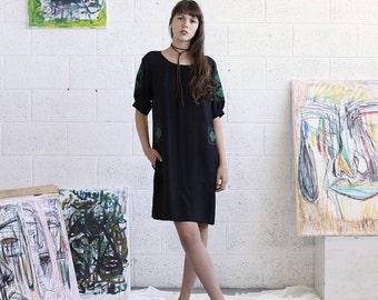 Summer SALE Embroidered Dress, Black Midi Dress, Black Casual Dress