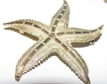 Large 3 inch  gold starfish brooch with patina