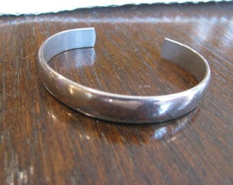 1960s Plain pewter cuff bracelet.   Perfect with Excellent patina