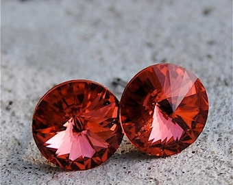 30% off SALE Watermelon/ Padparadscha Swarovski Crystal Stud Earrings Super Sparklers Jewelry by Mashugana