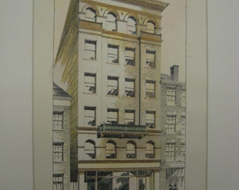 Store Building, Kate O'Meara, Worcester, Massachusetts, 1893, Earle & Fisher, Architects. Hand Colored, Original Plan, Architecture, Vintage