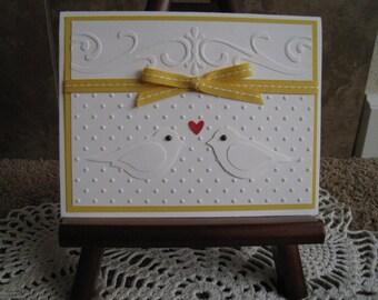 Handmade Wedding Card - Stampin Up - Birds - Congratulations or Thank You