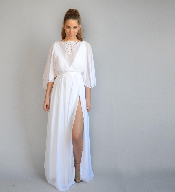 Kimono Wedding Gown: Chiffon Wedding Dress Kimono Sleeves Embroidery At Cleavage