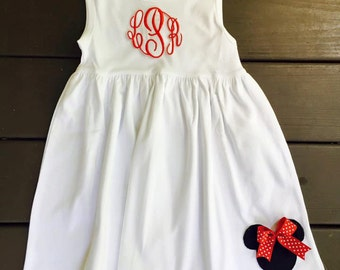 PERSONALIZED MOUSE DRESS- Monogram dress- disney dress- monogram disney- minnie dress- mouse dress- mouse appliqué- character dining outfit