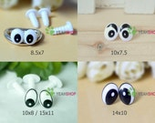 Black and White Plastic Oval Comic Eyes / Safety Eyes / Printed Eyes - 5 Styles