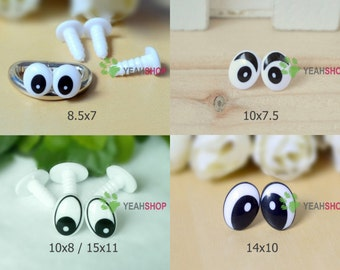 Black and White Plastic Oval Comic Eyes / Safety Eyes / Printed Eyes - 5 Styles