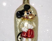 1930s Style Mickey Mouse Hand Blown Glass Christmas Ornament / Germany / Vintage Holiday Tree Decor