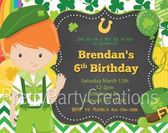 ST PATRICKS DAY Boy birthday invitation - 2 to choose - You Print